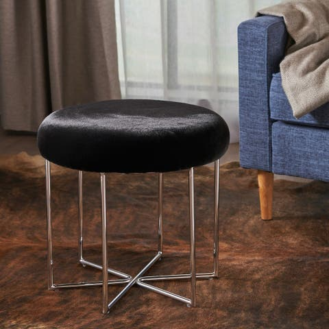 Aveline Glam Furry Fabric Round Ottoman Stool by Christopher Knight Home