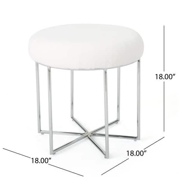 Superb Shop Aveline Glam Furry Fabric Round Ottoman Stool By Evergreenethics Interior Chair Design Evergreenethicsorg