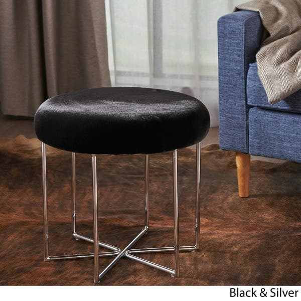 Remarkable Shop Aveline Glam Furry Fabric Round Ottoman Stool By Evergreenethics Interior Chair Design Evergreenethicsorg