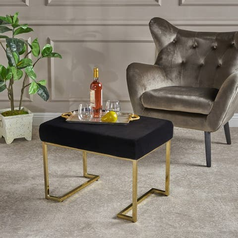 Leilani Glam Furry Fabric Ottoman Stool by Christopher Knight Home