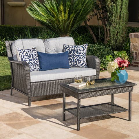 Savona Outdoor 2-piece Wicker Loveseat and Coffee Table Set with Cushions by Christopher Knight Home