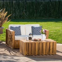 Cadence Outdoor 2-piece Acacia Wood Loveseat and Coffee Table Set with Cushions by Christopher Knight Home