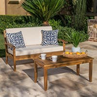 Peyton Outdoor 2-piece Acacia Wood Loveseat and Coffee Table Set with Cushions by Christopher Knight Home