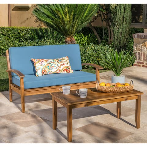 Peyton Outdoor 2-pc. Acacia Loveseat and Coffee Table Set by Christopher Knight Home