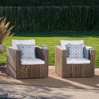 Brighton Outdoor Acacia Wood Club Chair With Cushion (Set Of 2) By  Christopher Knight