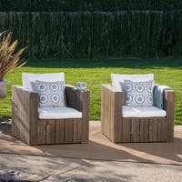 Brighton Outdoor Acacia Wood Club Chair with Cushion (Set of 2) by Christopher Knight Home