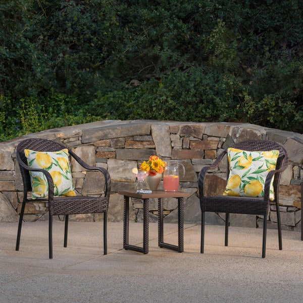 Colin Outdoor 3-Piece Square Wicker Aluminum Bistro Chat Set with Cushions by Christopher Knight Home
