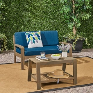 Grenada Outdoor 2-piece Acacia Wood Loveseat and Coffee Table Set with Cushions by Christopher Knight Home (gray finish + dark teal)