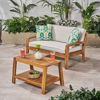 Grenada Outdoor 2-piece Acacia Wood Loveseat and Coffee Table Set with Cushions by Christopher Knight Home (Teak Finish + Teak Finish +)