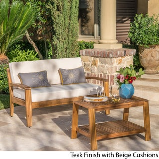 Grenada Outdoor 2-piece Acacia Wood Loveseat and Coffee Table Set with Cushions by Christopher Knight Home