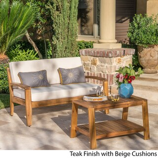 Grenada Outdoor 2-piece Acacia Wood Loveseat and Coffee Table Set with Cushions by Christopher Knight Home (Option: Teak Finish + Cream Cushions)