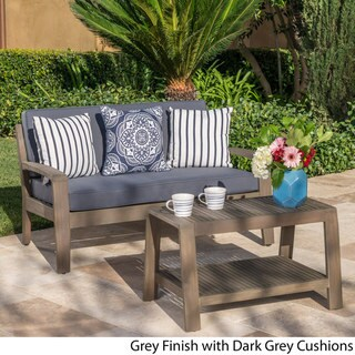 Grenada Outdoor 2-piece Acacia Wood Loveseat and Coffee Table Set with Cushions by Christopher Knight Home (gray finish + dark gray)