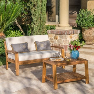 Grenada Outdoor 2 Piece Acacia Wood Loveseat And Coffee Table Set With  Cushions By Christopher