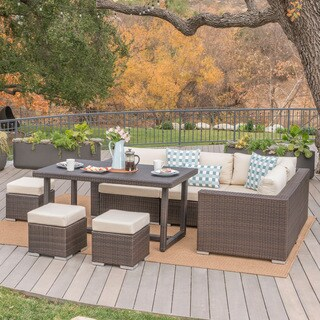 Santa Rosa Outdoor 8-Piece Rectangle Aluminum Wicker Dining Sofa Set with Cushions by Christopher Knight Home
