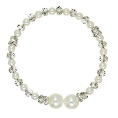 Glass Pearl and Crystal Bracelet