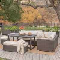 Santa Rosa Outdoor 7-Piece Rectangle Aluminum Wicker Dining Sofa Set with Cushions by Christopher Knight Home
