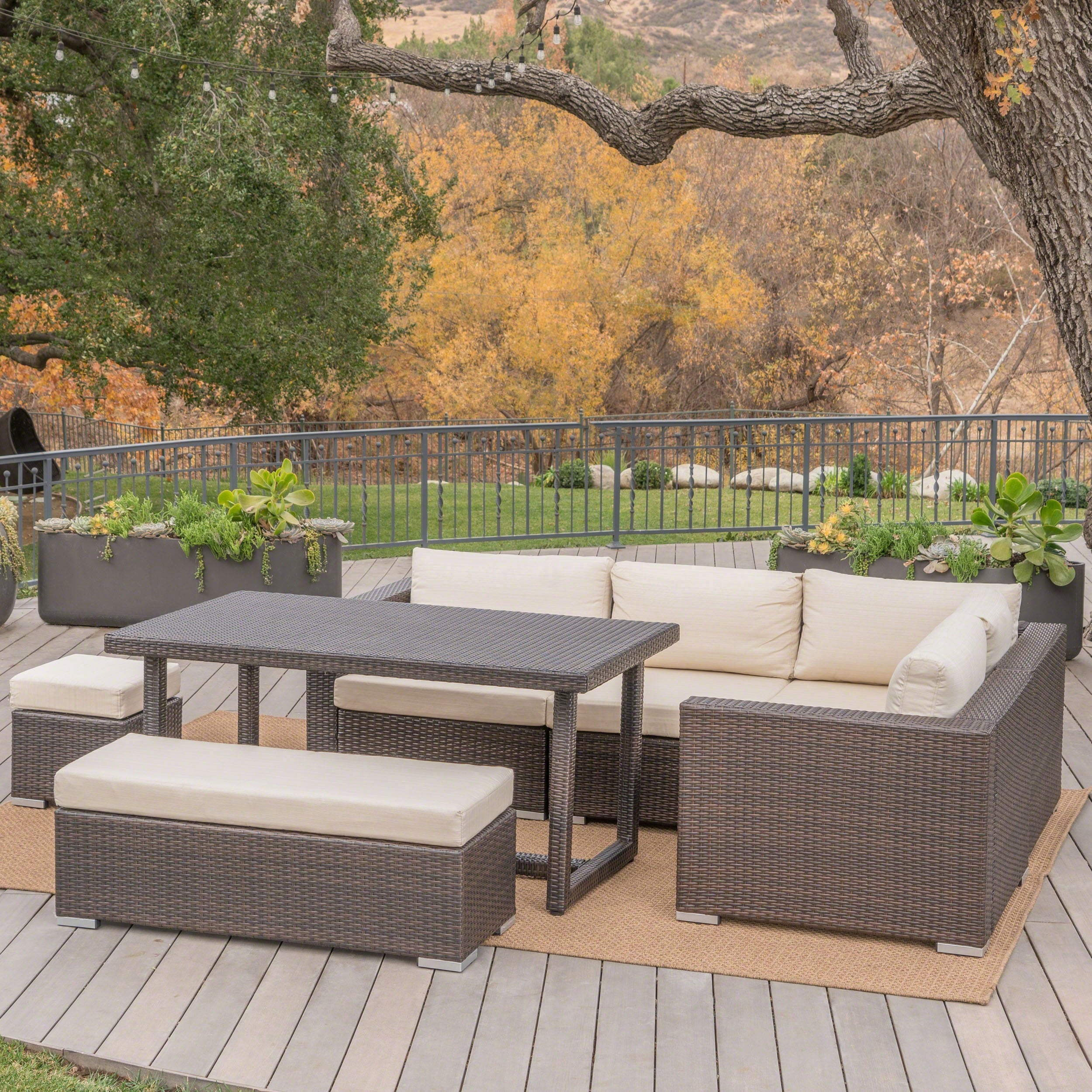 Picture of: Santa Rosa Outdoor 7 Piece Rectangle Aluminum Wicker Dining Sofa Set With Cushions By Christopher Knight Home Overstock 19834450