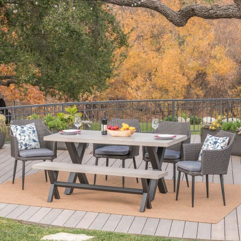 Waltonia Outdoor 6-Piece Rectangle Wicker Concrete Dining Set with Cushions by Christopher Knight Home