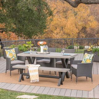 Fairmount Outdoor 6-Piece Rectangle Wicker Concrete Dining Set with Cushions by Christopher Knight Home