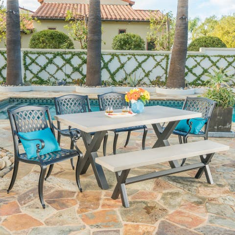 Altura Outdoor 6-Piece Rectangle Cast Aluminum Concrete Dining Set by Christopher Knight Home