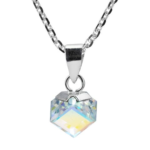 Handmade Gleaming Crystal Cube Prism set on Sterling Silver Necklace (Thailand)