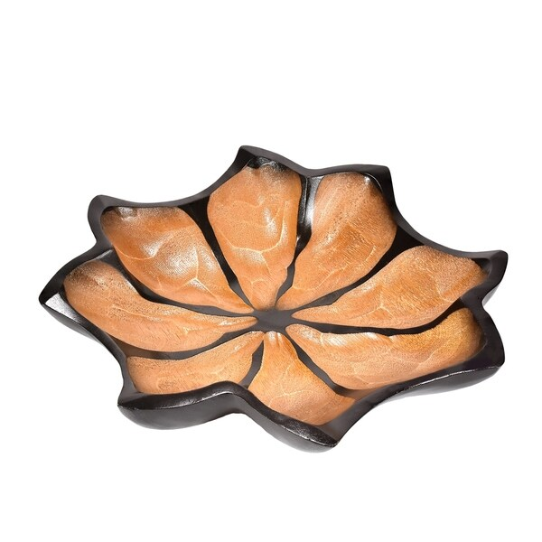 Beautiful Hand Carved Lotus Flower 12inch Platter or Tray (Thailand)
