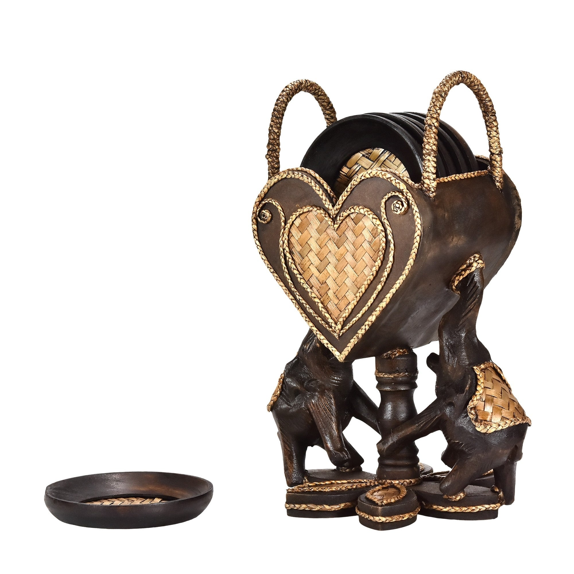 Handmade Elephant Pair Holding a Heart Set of 9 Coaster Kitchen Decor  (Thailand)