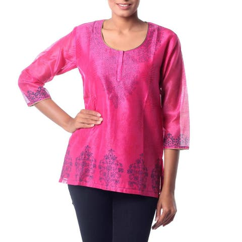 Handmade Cotton Silk Blend 'Fabulous in Fuchsia' Tunic (India)