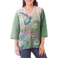 Handmade Cotton 'Peacock Love' Batik Tunic (Thailand)