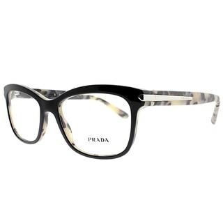 Prada Rectangle PR 10RV ROK1O1 Unisex Top Black White Havana Frame Eyeglasses