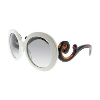 Prada Round PR 08TS VAG0A7 Women Ivory Frame Grey Gradient Lens Sunglasses
