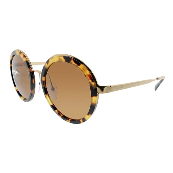 eb1e35c1cb Prada Round PR 50TS 7S06N0 Women Medium Havana Frame Brown Lens Sunglasses