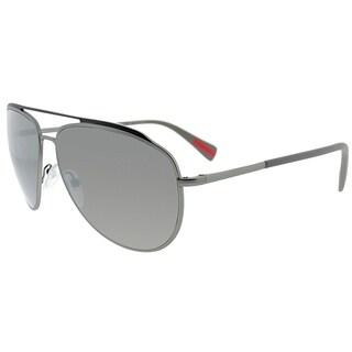 Prada Linea Rossa Aviator PS 55RS DG15K0 Unisex Lead Rubber Frame Silver Mirror Lens Sunglasses