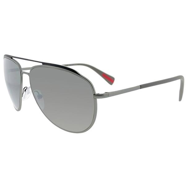 90281f875ef2 Prada Linea Rossa Aviator PS 55RS DG15K0 Unisex Lead Rubber Frame Silver  Mirror Lens Sunglasses