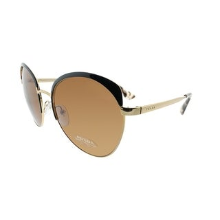 Prada Round PR 54SS LAX6N0 Women Antique Gold Black Brown Frame Brown Lens Sunglasses