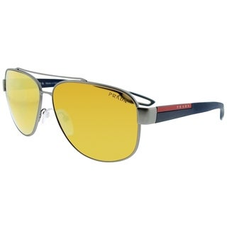 Prada Linea Rossa Aviator PS 58QS DG15N0 Unisex Gunmetal Rubber Frame Orange Mirror Lens Sunglasses
