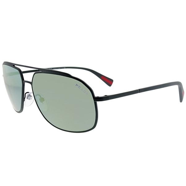 8291a9e54dc Prada Linea Rossa Aviator PS 56RS TIG4J2 Unisex Grey Rubber Frame Green  Mirror Lens Sunglasses