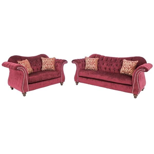 New York Red Upholstered Tufted Crystal Living Room Sofa Set