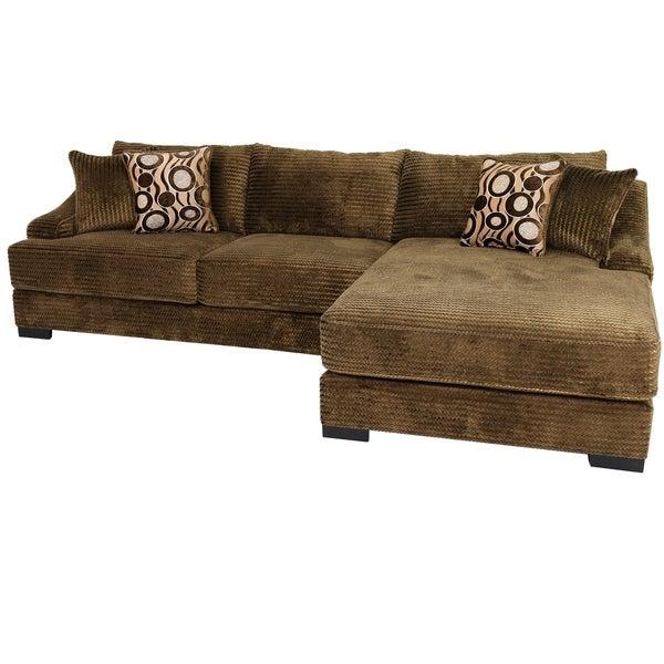 Buffalo Transitional Velvet Brown Upholstered Sectional Sofa