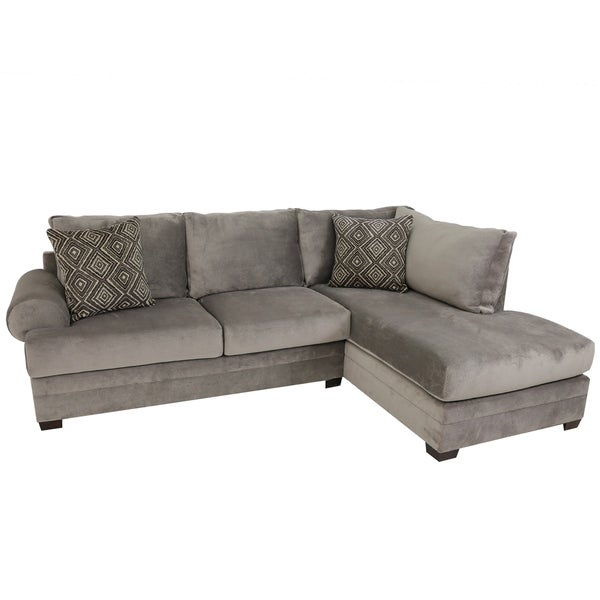 Gray Velvet Sectional Sofa: Shop Ventura Grey Velvet Upholstered Sectional Sofa