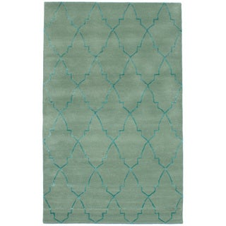 eCarpetGallery Hand-Tufted Trellis Green Wool, Art Silk Rug (5'0 x 8'0)