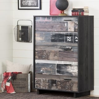 South Shore Fynn 5-Drawer Chest, Gray Oak and Factory Planks Effect