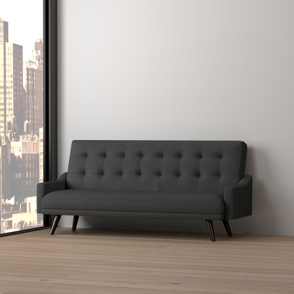 Handy Living Olney Click Clack Charcoal Black Futon Sleeper Sofa