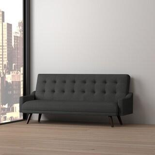 Handy Living Olney Click Clack Charcoal Black Futon Sleeper Sofa