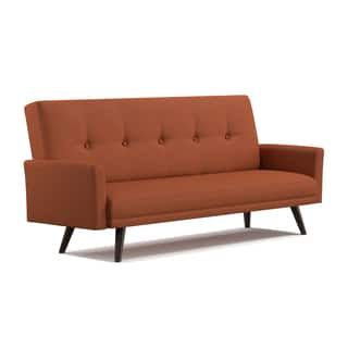 Handy Living Mancos Click Clack Orange Linen Futon Sleeper Sofa