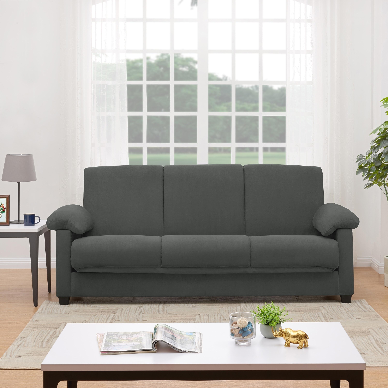 Handy Living Morrison Convert A Couch Grey Microfiber Futon Sleeper Sofa