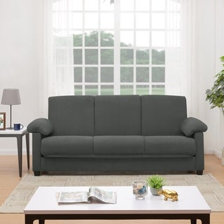 Handy Living Morrison Convert-a-Couch Grey Microfiber Futon Sleeper Sofa