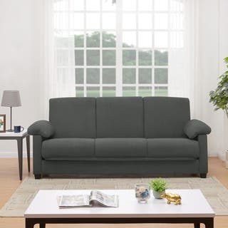 Handy Living Morrison Convert A Couch Grey Microfiber Futon Sleeper Sofa