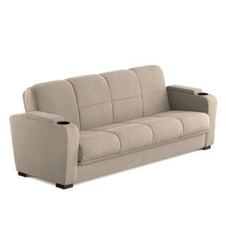 Clay Alder Home Pope Street Arm Convert A Couch Mocha Tan Microfiber Futon Sleeper