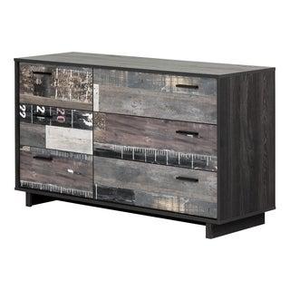 South Shore Fynn Grey Oak 6-drawer Planks Effect Double Dresser